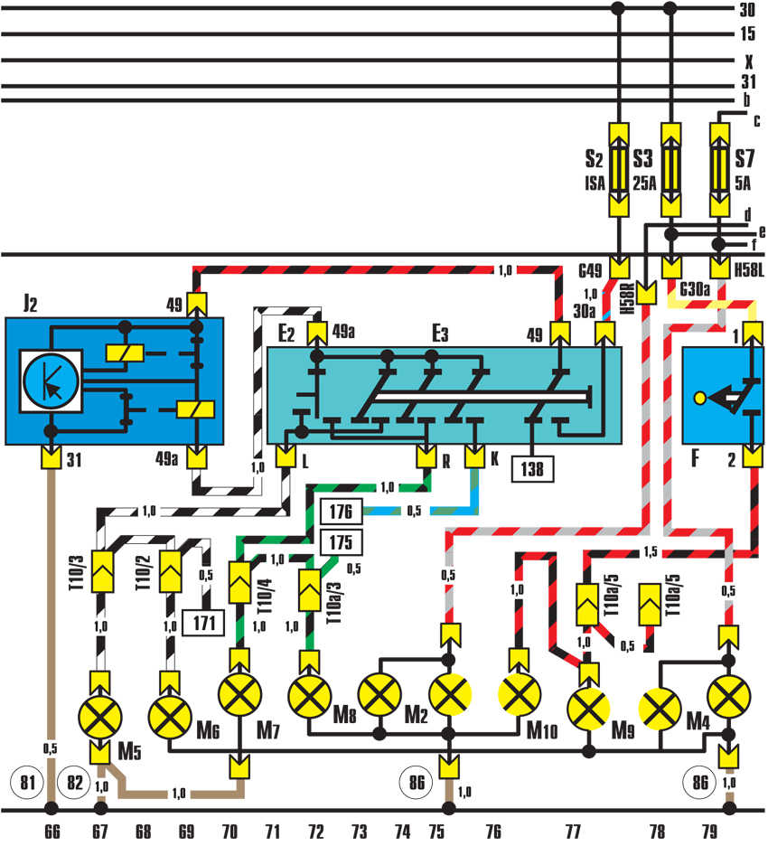Схема подключения габаритов ауди 80