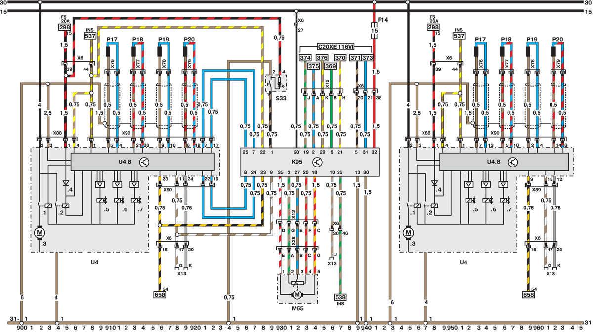 электрическая схема опель астра g 1999