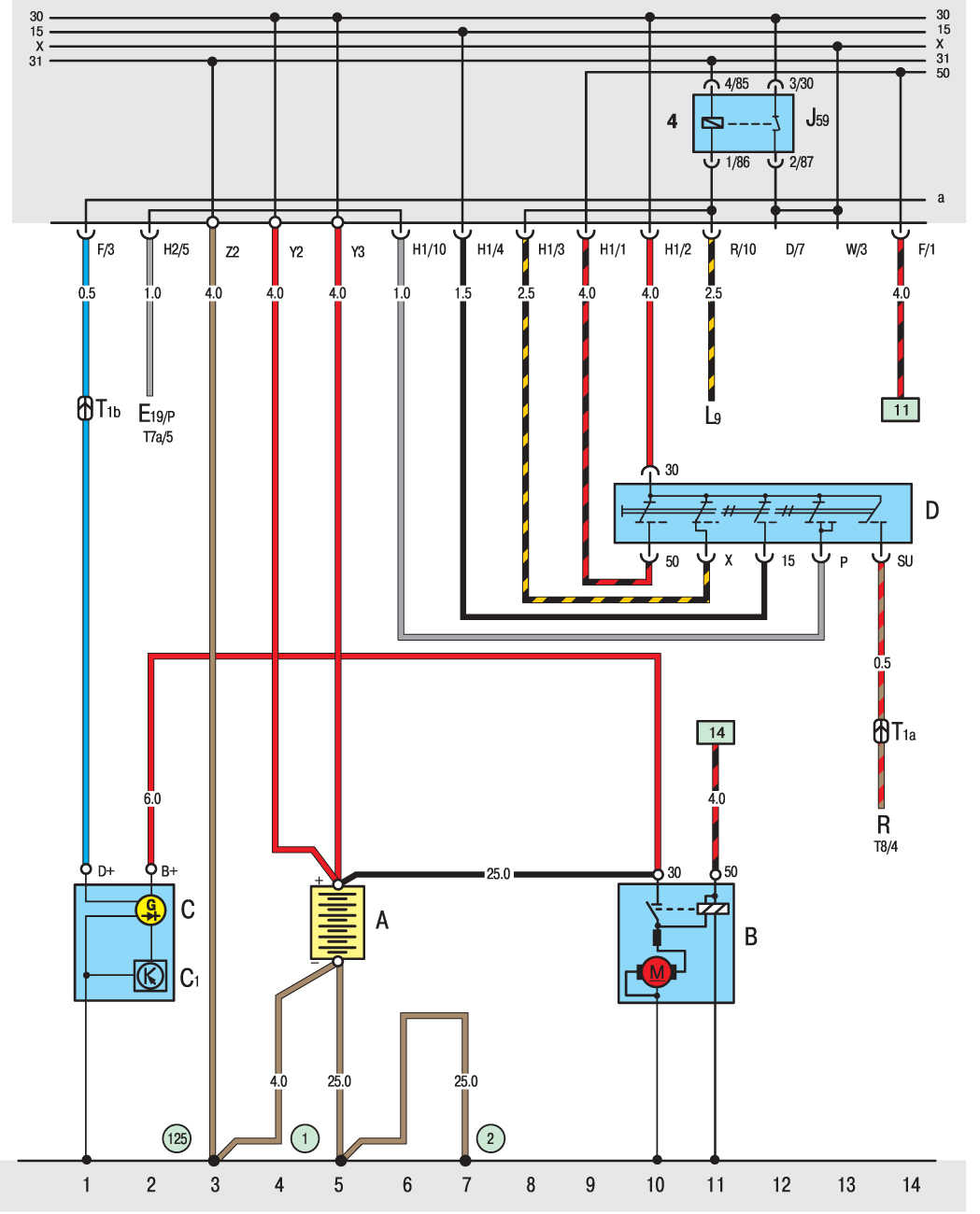 электрическая схема volkswagen t4 задние фонари