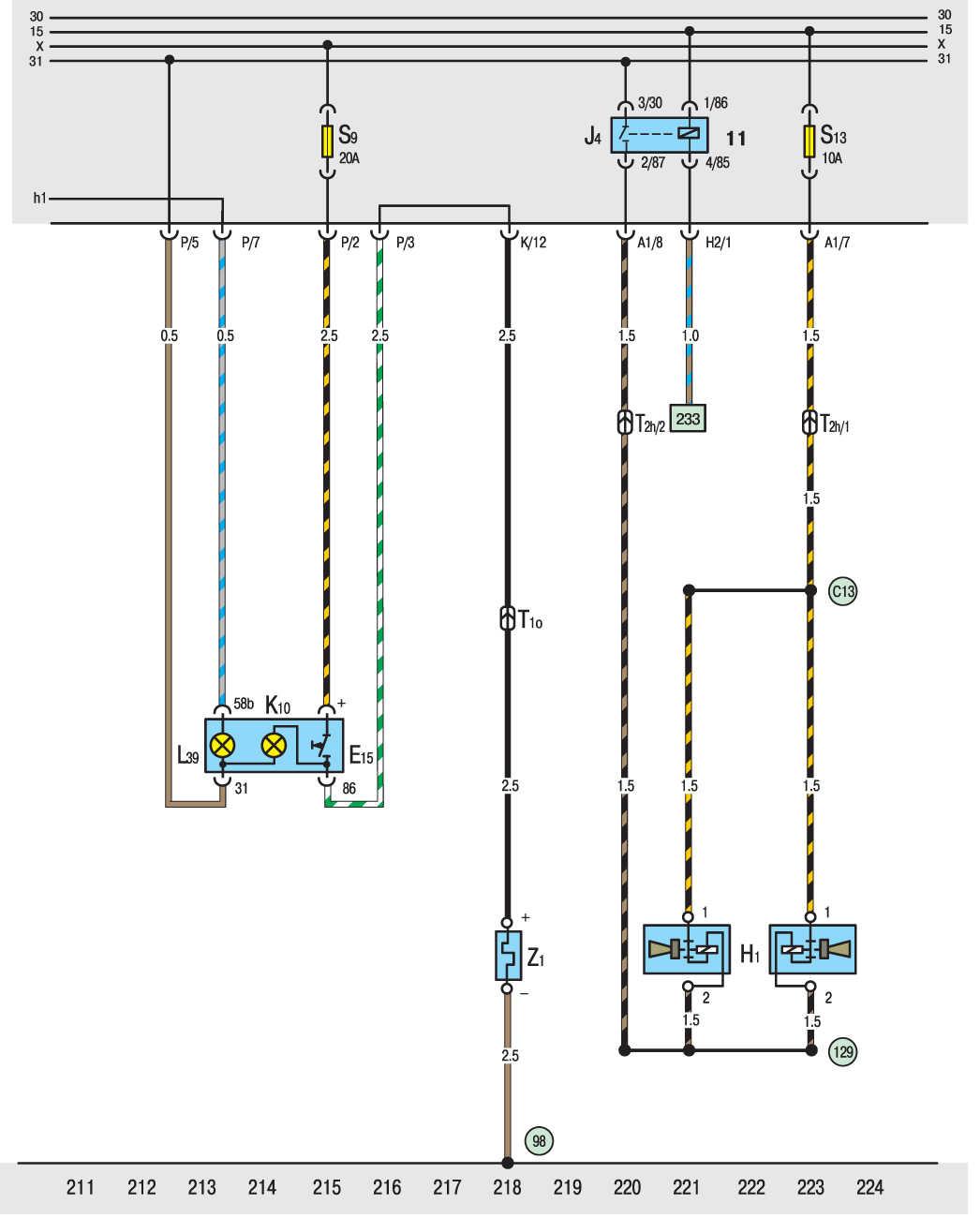 электрическая схема фольксваген транспортер т4